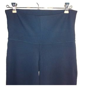 Pants - Dark green fold over/high waist yoga wide leg pant